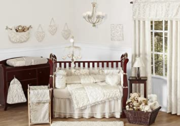 Sweet Jojo Designs 9 Piece Champagne And Ivory Victoria Baby Bedding Girl  Crib Set