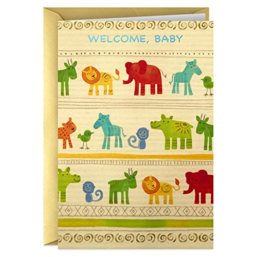 Hallmark Golden Thread Baby Shower Card (Jungle Animals) -