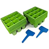 Toil in the Soil 9-Cell Seed Planter - Germination Trays with Drain Holes, Pack of 40 with Plant Labels, Efficiently Transfers Heat, Promotes Root Growth for Transplanting Ease (Assorted Colors)