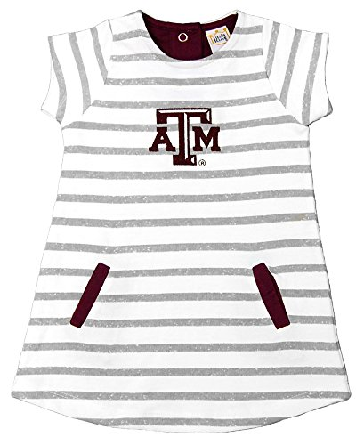 NCAA Texas A&M Aggies Striped Dress with Team Color Trim, 4T, (Aggie Girl)