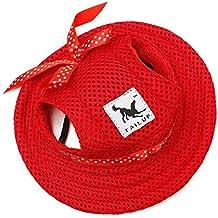 Easywin Round Brim Princess Cap Visor Hat Pet Puppy Dog Cat Mesh Porous Sun  Cap with Ear Holes for Teddy Pug Chihuahua-Szie 9372460726ea