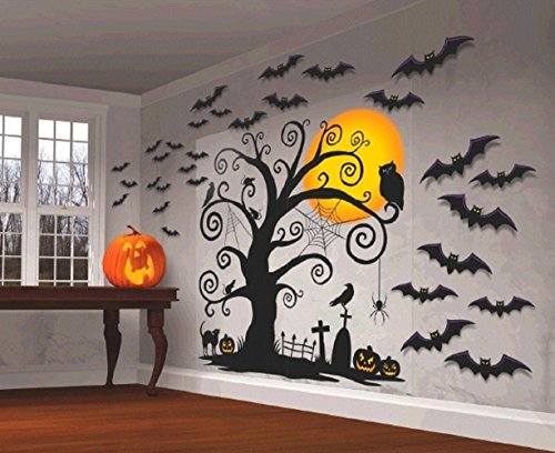 Halloween Decoration ~ 5 Foot tall Wall Decoration with 30 cutouts Mega Value Halloween Decorating Kit ~spider~black cat~RIP~crow~bats~jack-o-lantern~owl~pumpkin]()