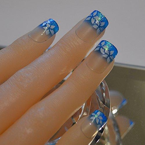 24 Uñas Postizas Manicura Francesa Puntas Medianas Flor sobre Azul Cobertura Total de Bling Art, RU: Amazon.es: Belleza