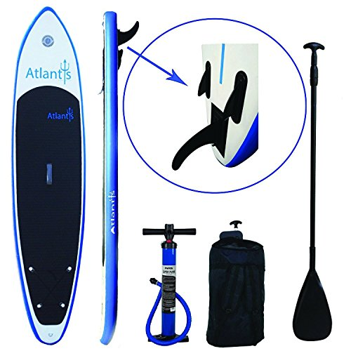 Atlantis Paddle Boards SUP Inflatable Paddle Board Oversize Mat For Doubles, Yoga & Dogs. Carrier Bag, Floating Adjustable Paddle & Dual Action Pump. (Atlantis SUP Premium Package w/ Ankle Leash)
