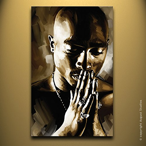 Tupac Shakur 2Pac Rap Hip Hop Artist Signed Decor Painting Poster Canvas Art Print  4  Medium 26  X 16