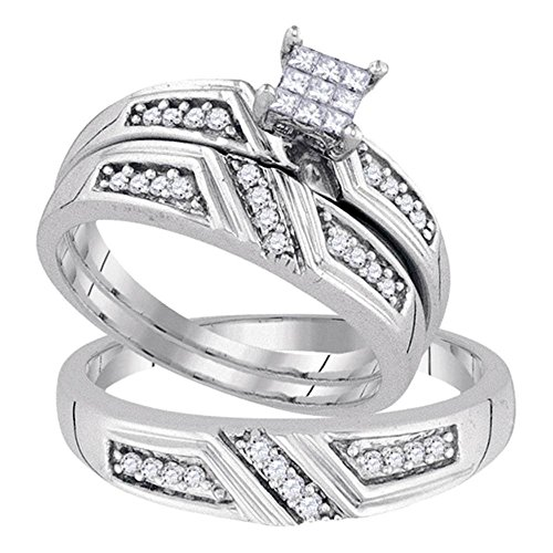 Sizes - L = 5.5, M = 10.5 - 925 Sterling Silver Princess Cut & Round Diamond Trio Three Ring Set - Matching His and Hers Engagement Ring & Wedding Bands - Invisible Set Square Princess Center Setting Shape with Channel Set Side Stones (1/3 cttw.) - Please use drop down menu to select your desired ring sizes (Princess Invisible Set Diamond Band)