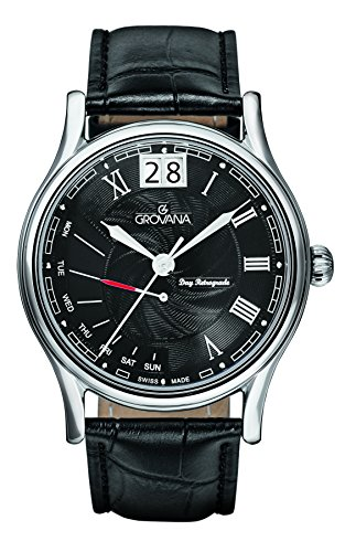 Grovana Men's 1729-1537 Retrograde Analog Display Swiss Quartz Black Watch