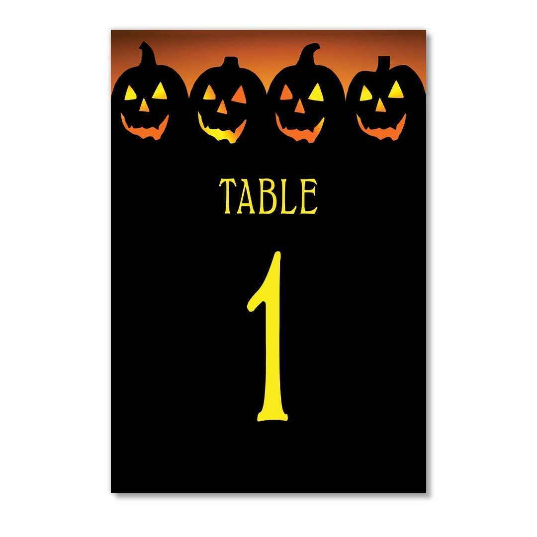 Halloween Table Numbers Pack of 25 Reserved Seats Scary Jack O' Lanterns Day Evening Children Adults Costume Parties Single Sided 4
