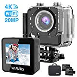Action Camera 4K Underwater Waterproof Camera 20MP Sony Sensor WiFi Sport Cam with Remote 2 Batteries and Mounting Accessories Kit