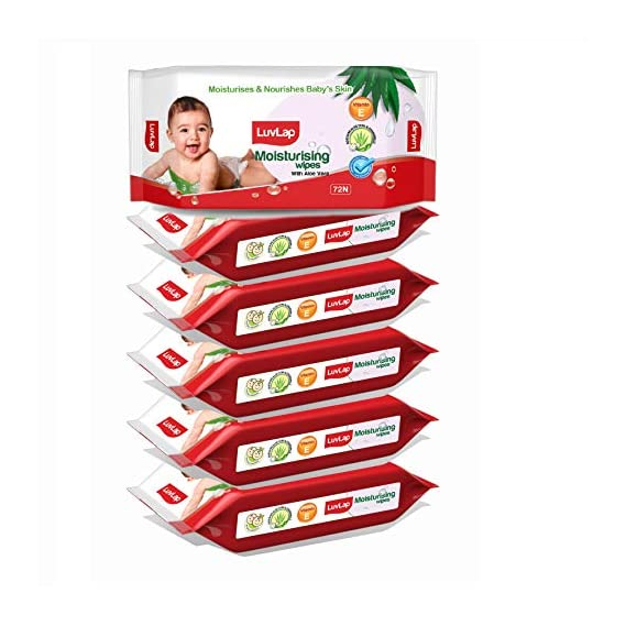 LuvLap Baby Moisturising Wipes with Aloe Vera, 72 Wipes/Pack, Pack of 6 Combo