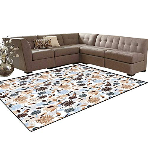 Earth Tones Room Home Bedroom Carpet Floor Mat Flourishing Hydrangea Flowers in Abstract Style Skinny Stems with Leaves Door Mats Area Rug 6'6