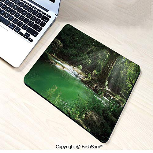 Mouse Pads Tropical Forest Foliage with Cascade Rainforest Relaxing National Park Image for Home(W7.8xL9.45)