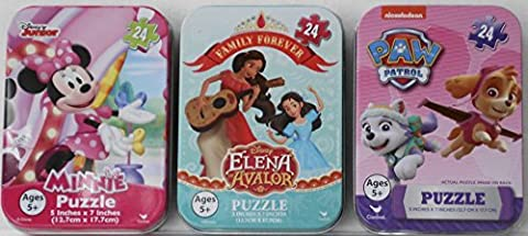 3 Mini Puzzles in Tin Cases Bundle: Disney's Elena of Avalor, Paw Patrol, & Disney Polka Dot Minnie Mouse - 24 Pieces Per - Mini Tin Case
