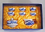 Blue and White Landscape Scenery 10 piece Chinese Gongfu Gaiwan Set Comprised of 3-piece Gaiwan, Fairness Pitcher and 6 Tea Cups