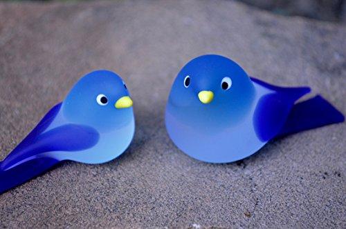 Chickadee Glass - Murano Glass Chickadee Birds, Small & Medium Set, Turquoise & Cobalt