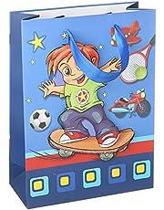 حقيبة هدايا بطبعة ولد يلعب، ازرق