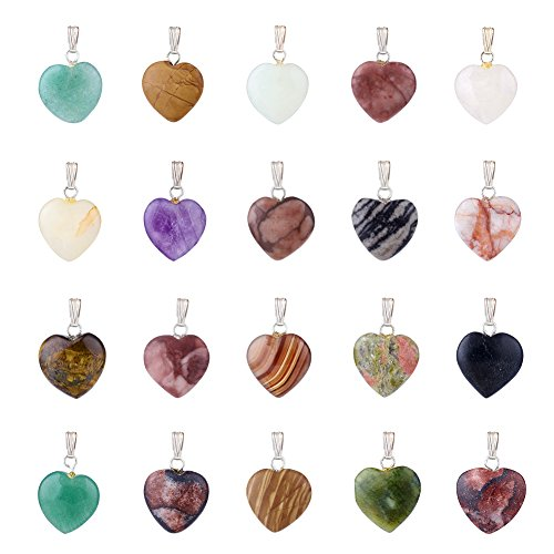 Fashewelry 20 Pieces Heart Shaped Natural Mixed Stone Pendants Charms Crystal Chakra Beads for DIY Necklace Jewelry Making