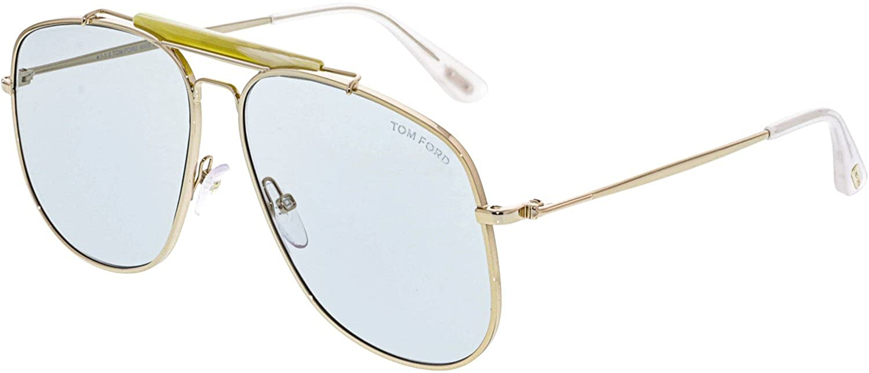 18700098b0 Amazon.com  Tom Ford Connor TF557 TF 557 28V Shiny Rose Gold Fashion Pilot  Sunglasses 58mm  Tom Ford  Clothing