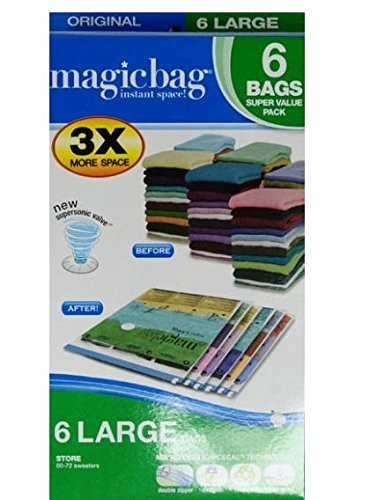 Magicbag Original Large, Instant Space, Storage Bags, 6pk (Set of 2)