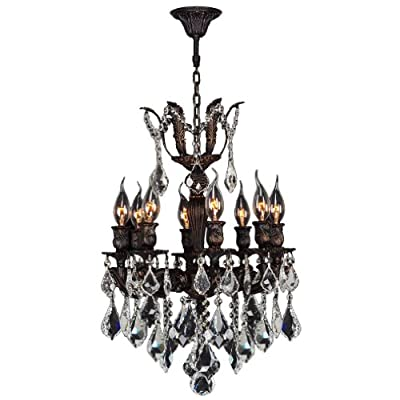 Worldwide Lighting W83321F16 Versailles 8 Light Flemish Brass Finish with Clear Crystal Chandelier