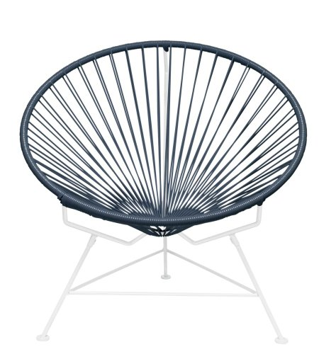 Innit Designs Innit Chair, Grey Weave on White Frame - Modern lounge chair with woven UV-resistant vinyl cord for breathability and support Rust-resistant, galvanized-steel frame and semi-textured polyester powder coat Hoop-shaped frame and tripod base; for indoor/outdoor and residential/commercial use - patio-furniture, patio-chairs, patio - 51ohU%2BCMLvL -
