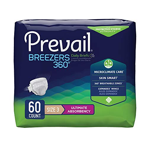 (Prevail Breezers 360 Ultimate Absorbency Incontinence Briefs, Size 3, 15 Count (Pack of 4))