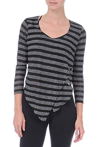 Danskin Women's NYCB Asymmetrical Stripe Cover-Up Top, Rich Black/Hematite, Large