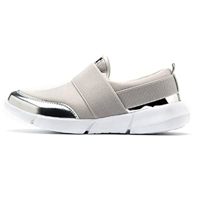 da616cc2f9f Newday Heaven Women Ladies Sneakers Lightweight Breathable Athletic Gym  Walking Trainers Slip On Loafers Flats Running Trainers Comfy Casual Shoes   ...