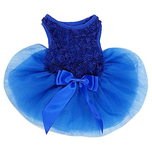Image of Kirei Sui Rosettes Dog Dress Dog Dress Large Royal Blue