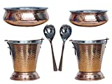 Kuber Industries Handmade Hammered Copper Steel /Copper Gravy Bucket/Balti 2 Pcs with 2 Handi Bowl and 2 Spoon For Serving Dishes (Buck45)