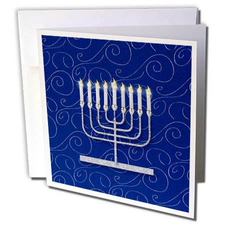 3dRose Doreen Erhardt Hanukkah Collection - Silver Faux Glitter Menorah Festival of Lights Hanukkah on Blue - 6 Greeting Cards with envelopes (Collection Menorah)
