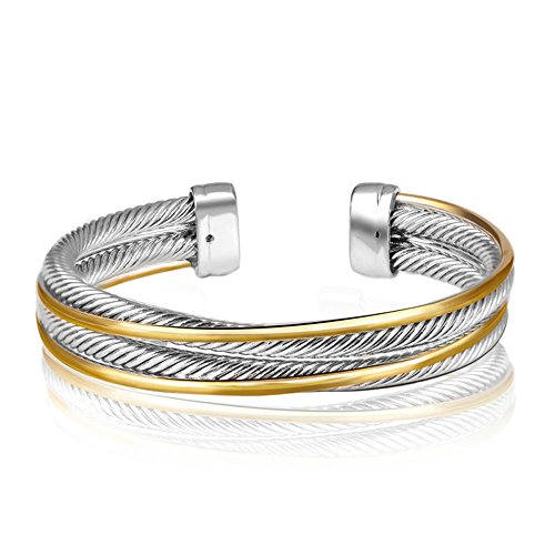 Bracelet Yurman David Cuff (UNY Vintage Fashion Twisted Cable Wire Bracelet New Antique Design Elegant Unique Retro Cuff Bracelet)
