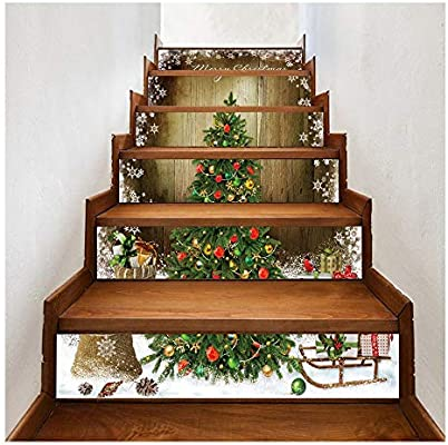 Navidad 3D for escaleras Las etiquetas engomadas-6pcs / set del árbol de navidad de escaleras Risers Las etiquetas engomadas desprendibles de la escalera Adhesivos impermeables engomadas de la pared f: Amazon.es: Hogar