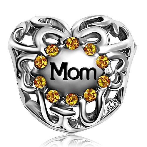 JMQJewelry Mom Heart Love November Yellow Charms Beads for Bracelets Sister