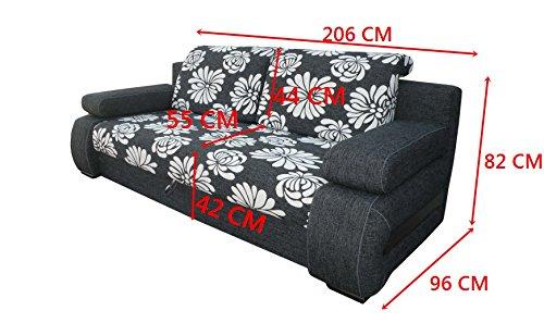 MEUBLO Canapé Convertible 3 Places Tissu + Simili Cuir York (Beige)