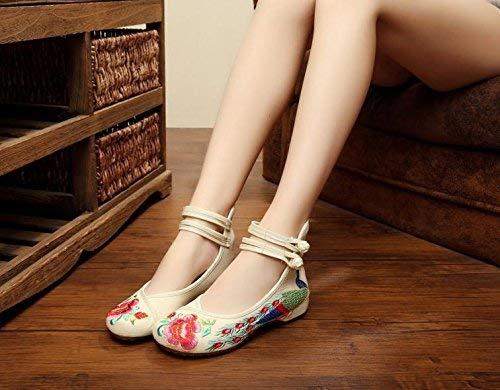 Blancs Taille 42 Féminin Chaussures Style Fuxitoggo coloré Tissu Tendon Brodées Ethnique Semelle Mètres Confortable Mode En Décontracté Les HqwH61Tx