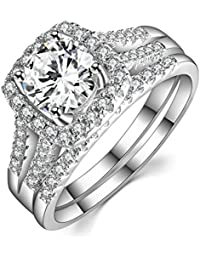 2 Carat Round Halo Cubic Zirconia 925 Solid Sterling Silver Wedding Band Engagement Ring Sets