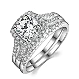Caperci 2 Carat Round Halo Cubic Zirconia 925 Solid Sterling Silver Wedding Band Engagement Ring Sets Size 8
