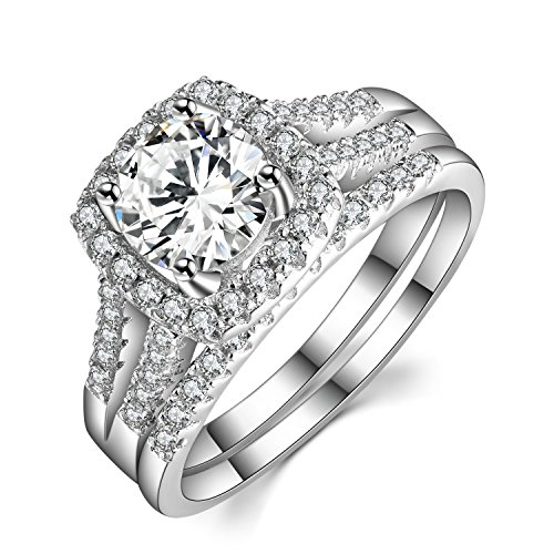 Caperci 2 Carat Round Halo Cubic Zirconia 925 Solid Sterling Silver Wedding Band Engagement Ring Sets Size 10 - Sterling Silver Engagement Square Ring