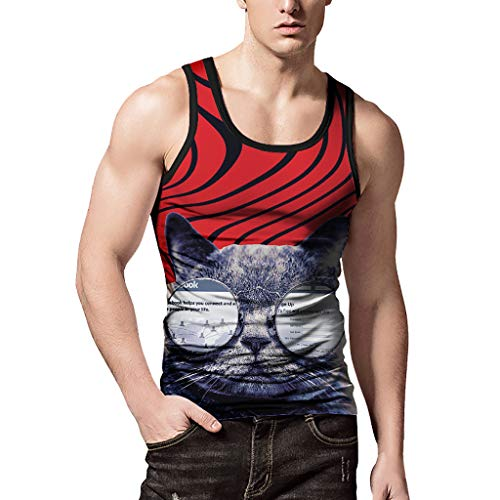 (Mens Gym Body Shaper Vest,MmNote Ployester All-Over Graphics Fun Kitten Printed Patterns Graphics Moisture Wicking Vest)