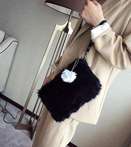 Shoulder Women Black Fluffy Handbag Purse Faux Crossbody Clutch Evening Fur BeeChamp Bag Envelope Hpn86dqqR