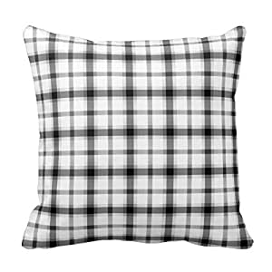 Black and White Check Gingham Grid Pattern Pillow Case Cover Square Zippered 16X16 Inch Two Sides