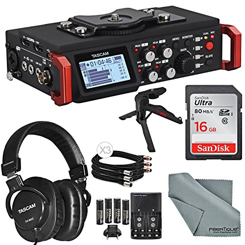 Tascam DR-701D Field Recorder for DSLR with SMPTE Timecode Bundle w/ Tripod+Headphones + Cable + 16GB + Batteries and FiberTique Cloth