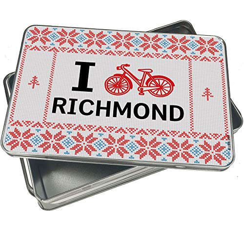 NEONBLOND Cookie Tin Box I Love Cycling City Richmond Vintage Christmas Pattern