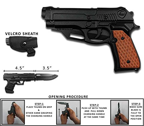Best Quality Rogue River Tactical Black with Brown Wood Pakkawood 1911 Gun Pistol Spring Assisted Opening Folding Pocket Knife with Belt Holster 440 Stainless Steel Blade Great Gift