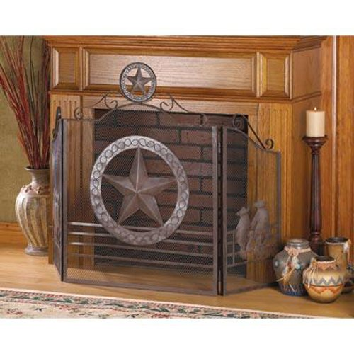 Aw Lone Star Folk Art Texas Western Fireplace Screen w/Metal cutouts and Rustic Weathered Finish