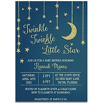 Amazon baby shower invitation stars and moon baby shower baby shower invitation stars and moon baby shower invite blue gold unisex filmwisefo