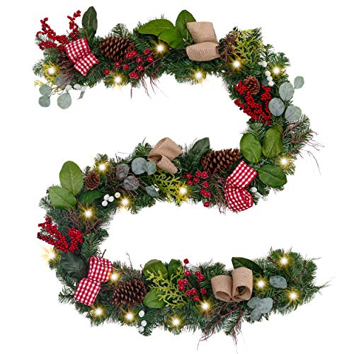 Valery Madelyn Pre-Lit 9 Feet/106 Inch Farmhouse Christmas Garland with Ball Ornaments Decorations, Berries, Pine Cones, Ribbons and Flowers, Battery Operated 40 LED Lights (Tree Christmas Farm Berry)