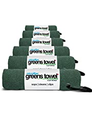 "Greens Towel Microfiber (6 Pack), 16"" X 16"" with Carabiner Clip. The Convenient Golf Towel"