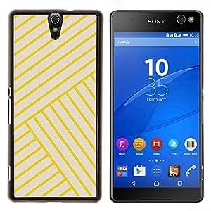 TECHCASE---Cubierta de la caja de protección para la piel dura ** Sony Xperia C5 Ultra ** --amarillo azulejos dorados línea Bling amarillas